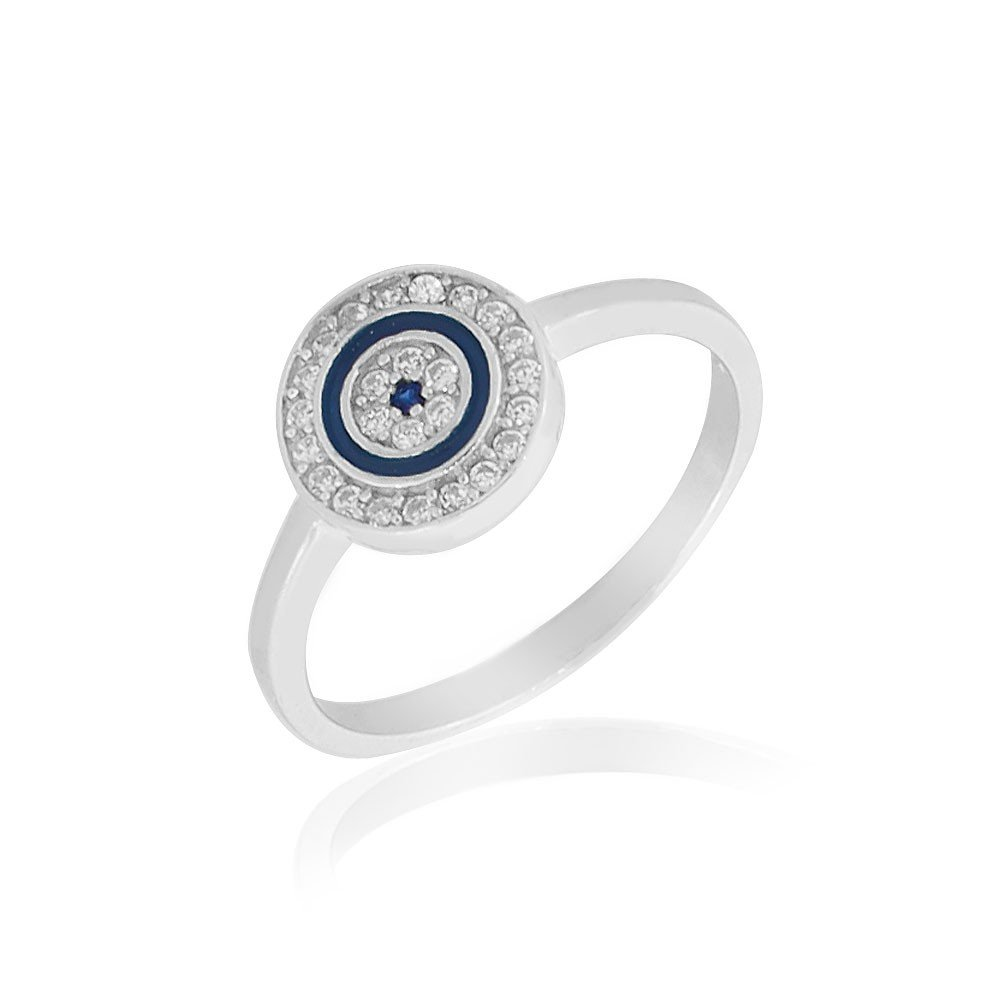 925 Sterling Silver White Clear CZ Blue Enamel Evil Eye Protection Ring Band - Size 8