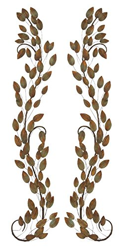 Deco 79 63364 Metal Leaf Wall Decor, 58 by 9-Inch, 1 Pair For Sale