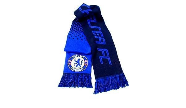 89bb6ff50a207 Chelsea FC club fútbol blanco azul negro desvanecimiento oficial bufanda  diseño  Amazon.es  Deportes y aire libre