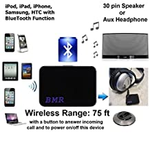 BMR A2DP Bluetooth Music Receiver 2 in 1 Adapter for Bose Speakers and any speakers, motorcycle, car stereo with 30 pin dock & 3.5mm aux audio input- Extra Long Wireless Range up to 75 ft (New model Dec/2014)