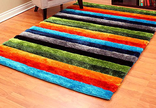 Handcraft Rugs- Super Plush / Soft Shaggy Area Rugs with 3-D Hand curving effect and Stripped Pattern Design – Multi / Rainbow / Gay Pride Color (Approximately 5 feet by 7 feet) Review