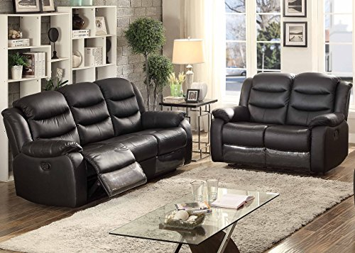 Christies Home Living 2 Piece Bennett Leather Transitional Sofa And Loveseat Room Set with 4 Recliners, ()