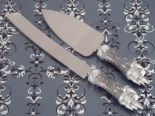 (Platinum Castle Collection Cake And Knife Set C1754 Quantity of 1)