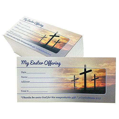 Easter Offering/Tithe Envelopes - Three Crosses Easter Design, Name, Date, Address, Easy-open Tab, Fits Bills & Checks, Choose Your Quantity (125, 250, or 500) by Generic