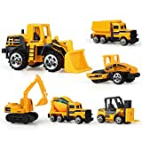 TQP-CK Metal and Plastic Construction Vehicle Toys Bulldozer,Excavator,Forktruck,Dump Truck,Roller,Tanker for Kids Age 3+ Pack of 6