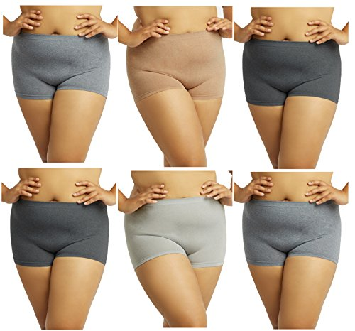 Gilbins Plus Size Women Seamless Stretch Boy Shorts Panties Various Styles Fits Most 1X-2X (Pack Of 6) (Heather Black Oxford Grey Beige) ()