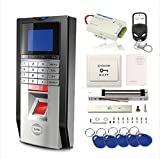 TCP/IP Biometric Fingerprint Password RFID Access Control Time Attandance System Kit 600Lbs Magnetic Lock