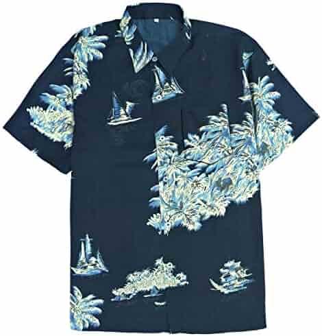 375ced36 Leehanton Mens Hawaiian Shirts Button-Down Quick Dry Short Sleeve Aloha  Shirt
