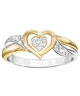 TbpersicwT Shiny Women Rhinestone Hollow Love Heart Finger Ring Wedding Engagement Jewelry Unique Temperament Ring (US 10)