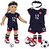 "18 Inch Doll Clothes(Team USA 6 Piece Soccer Uniform,Inchudes Shirt,Shorts,Socks,Headwear,Football,Shoes,Fits 18"" American Girl Dolls)"