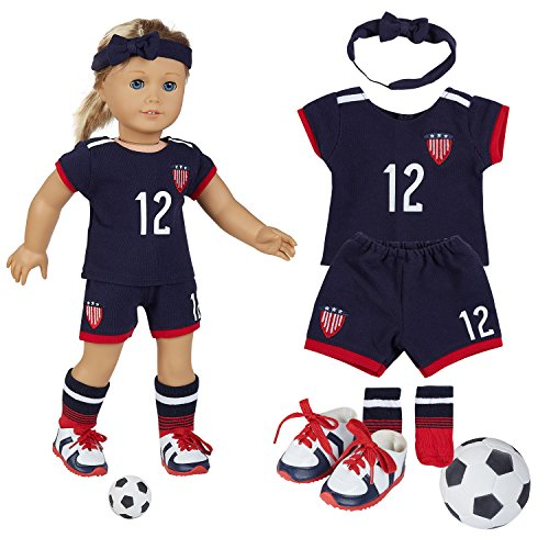 18 Inch Doll Clothes(Team USA 6 Piece Soccer Uniform,Inchudes Shirt,Shorts,Socks,Headwear,Football,Shoes,Fits 18