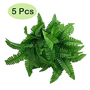 Oopsu 5 Bunches Fake Faux Artificial Boston Ferns Plants Greenery Bushes for Indoor Outside Home Garden Office Verandah Wedding Decor 39