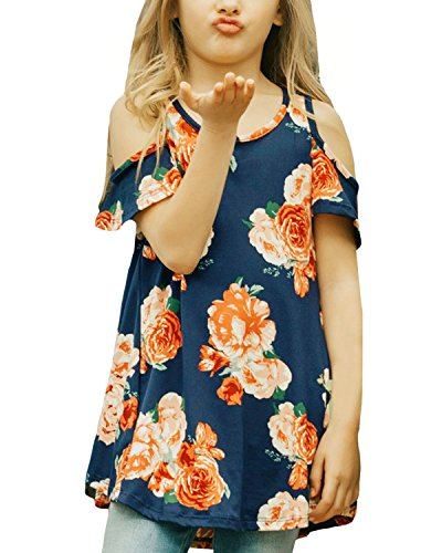Fashion Kids T-shirt (CHARMCZ Girls Short Sleeve T Shirt Floral Print Summer Fashion Cut Out Shoulder Kids Casual Loose Tunic Tops 4-13Y (B Floral Blue, XXL (12-13Y)))