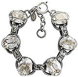 Catherine Popesco Silvertone Crystal Oval Scroll Link Crystal Bracelet, 6.5'' Shade 1609