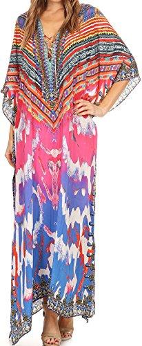 Sakkas SS1676 KF2503629LAT - LongKaftan Georgettina Ligthweight Printed Long Caftan Dress/Cover Up - Pink/Orange -OS