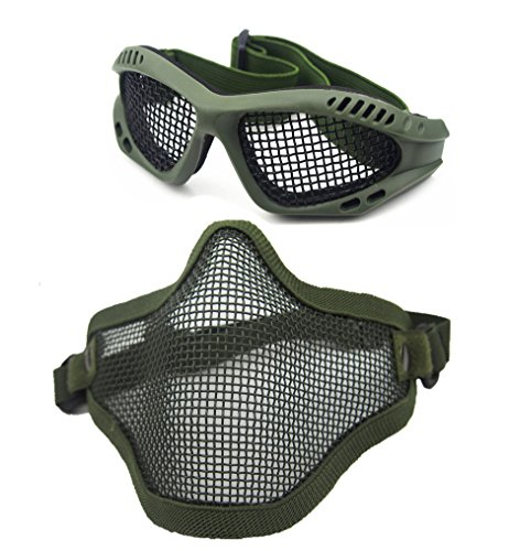 Mesh Face Guard Airsoft (Geoot Airsoft War Game Half Face Guard Mesh Mask Protector Goggles (Green))