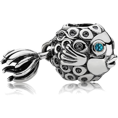 Pandora Angel Fish Silver Charm with Blue Topaz 791108TPP