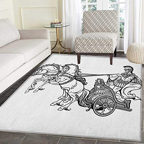 Toga Party Non Slip Rugs Roman Warrior in a Chariot Pulled by Two Horses Historic Carriage Monochrome Door Mats for Inside Non Slip Backing 4'x5' Black White