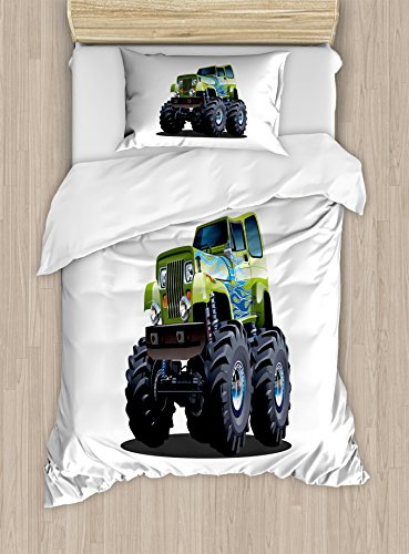 Truck Duvet Cover Set Twin Size by Ambesonne, Cool Monster Truck Boyhood Dreams Giant Wheels Off Road Vehicle, Decorative 2 Piece Bedding Set with 1 Pillow Sham, Sky Blue Apple Green Dark - Truck Cool Blue
