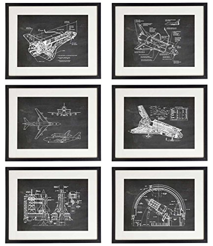 IDIOPIX Space 01 Patent Wall Decor Chalkboard Art Print Set of 6 Prints UNFRAMED