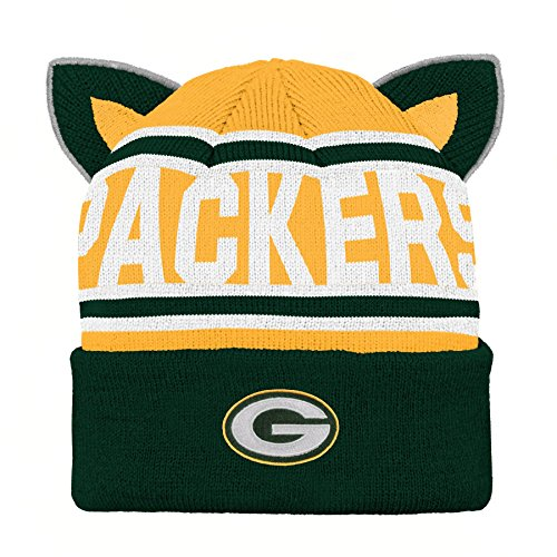 NFL Green Bay Packers Team Ears Fleece Knit Hat Hunter Green, Infant One Size ()