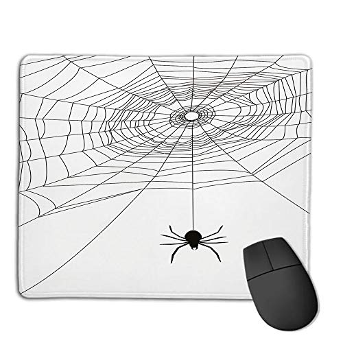 Premium-Textured Mouse Mat,Non-Slip Rubber Mousepad Waterproof,Spider Web,Complex Doodle Net Sticky Gossamer Hunting Insect Catch Danger Prey Spooky Decorative,Black White,Applies to Games,Home, SCH