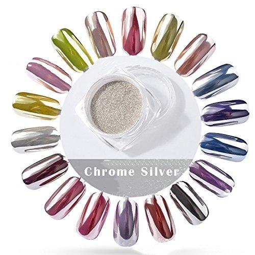 Rose Diva - PrettyDiva 5g Silver Chrome Nail Powder, Rose Gold Effect Mirror powder Manicure Pigments