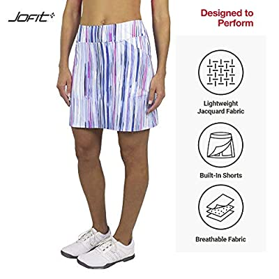 Jofit Women's Athletic Clothing Long Mina Golf and Tennis Skort with Built-in Undershorts, Streak Print, Size Small: Clothing