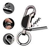 Keychain Wine Opener, Jobon Corkscrew Key Chain Flashlight Multitool with LED Light, Bottle Opener and 2 Key Rings (Grey)