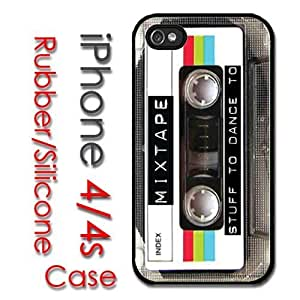 iPhone 4 4S Rubber Silicone Case - Retro Mixed Tape Cassette Old School 80's