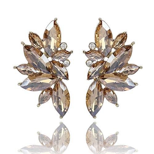 Shining Diva Fashion Latest Design Stylish Traditional Party Wear Crystal Stud Earrings for Women (Champagne) (11098er)