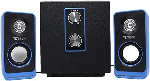 YKTECH Altavoces para PC Audio Música Sistema Altavoces Subwoofer Baja Conexión USB Cable AUX Ordenador Smartphone MP3 JD103 Multimedia: Amazon.es: Jardín