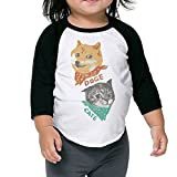 Hanxiaoxiao Girls Doge and Cate Slim School Black Cute T Shirt 5-6 Toddler Crew Neck 1/2 Sleeve Raglan T-Shirt