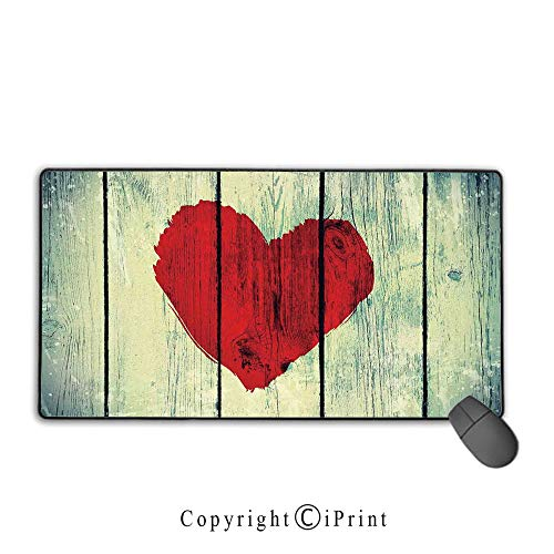 Extended Mousepad with Durable Stitched Edges,Love Decor,Love Heart Symbol Painted on Rustic Wooden Wall Romance Affection Pleasure Themed Print,Red Pale Green, Non-Slip Rubber Base,9.8