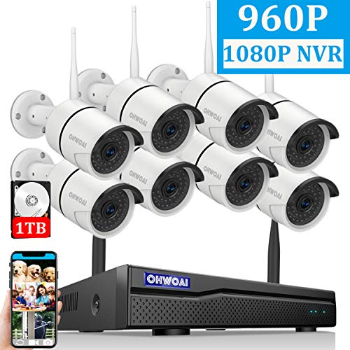 【2019 Newest】OHWOAI Security Camera System Wireless, 8CH 1080P NVR,8Pcs 960P HD Outdoor/ Indoor IP Cameras,Home CCTV Surveillance System(1TB Hard Drive)Waterproof,Remote Access,Plug&Play,Night Vision.