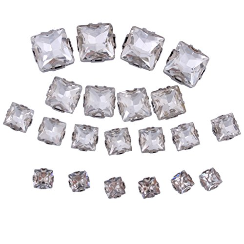 ZIJING 55pcs Mixed Size Silver Brass Metal Setting Clear White Square Facets Sew On Crystal Rhinestones Elements Gems Stone Beads With 4 Holes for Sew On (Clear Mix Size --55pcs)