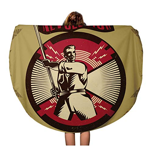 Semtomn 60 Inches Round Beach Towel Blanket Red Vintage Propaganda and Object Suitable Any Media Need Travel Circle Circular Towels Mat Tapestry Beach Throw