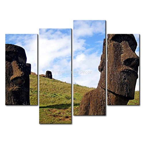 YEHO Art Gallery Painting Moai Statues Two Huge Rock Are Shape Of People'S Face Picture Print On Canvas - Audrey Shape Hepburn Face