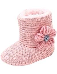 Kehen Baby Girl Premium Soft Sole Knit Mid Calf Warm Winter Infant Prewalker Toddler Snow Boots