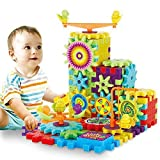 81 Pcs Interlocking Building Blocks and Gears Toy Set with Motorized Spinning Wheels Perfect Gift for Children Kids Puzzle Bricks Gear Wheels Build in Their Own Idea make More Fun