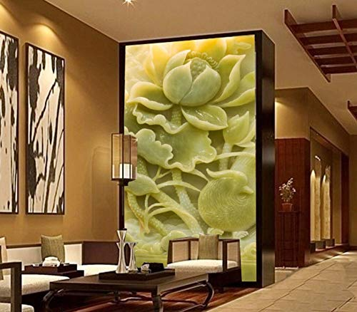 - Wanghan 3D Wallpaper Custom Wallpaper Europe Carved Emerald Lotus Pigeon Tv Background Living Room Bedroom Wall Mural-300Cmx210Cm