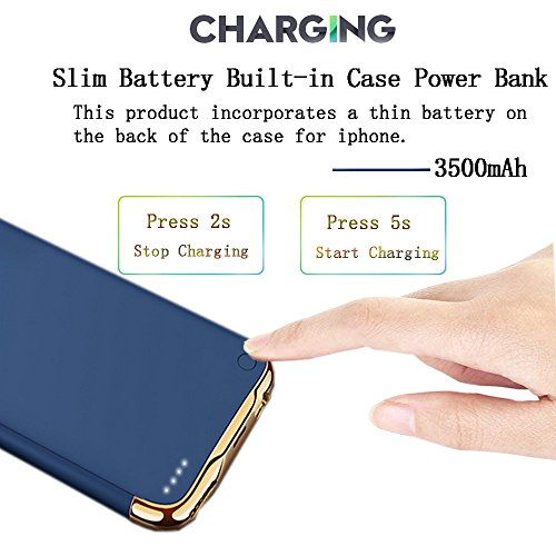 New Idealforce iPhone 6Plus/7Plus/8Plus Battery Charger Case, 4000mAh Portable Charger Case Rechargeable Extended Charging Case Cover for iPhone 6Plus/7Plus/8Plus (5.5 Inch) (Blue) orange iphone 7 plus case 5