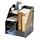 YyZCL Office Supplies Storage Box Wooden File Rack Information Multi-layer (Color : Black 04)