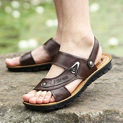 antiscivolo pelle EU43 morbida piatte morbida vera scarpe Sandali pelle in estate in dimensioni Marrone UK9 Colore traspirante con pelle in Marrone CJC casual scarpe 1pqzT