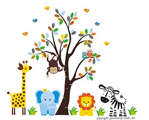 Baby Nursery Wall Decals Safari Jungle Childrens Themed 83'' X 97'' (Inches) Animals Trees Wildlife: Repositionable Removable Reusable Wall Art: Better than vinyl wall decals: Superior Material by Nursery Wall Decals