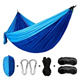 Single&Double Camping Hammocks Garden Hammocks Lightweight Portable Parachute Nylon Hammocks 600 lbs Capacity with 2 x Free Eye Masks, (2 x Strong Straps, Storage Bag and Carabiners) for Outdoor Camping Hiking Backpacking Travel Beach and Yard