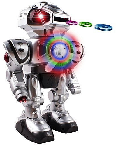 Android Battery Operated Disc Shooting Toy Robot Walking, Flashing Lights, Talking, Spinning, Disc Shooting Toy Robot (Silver)