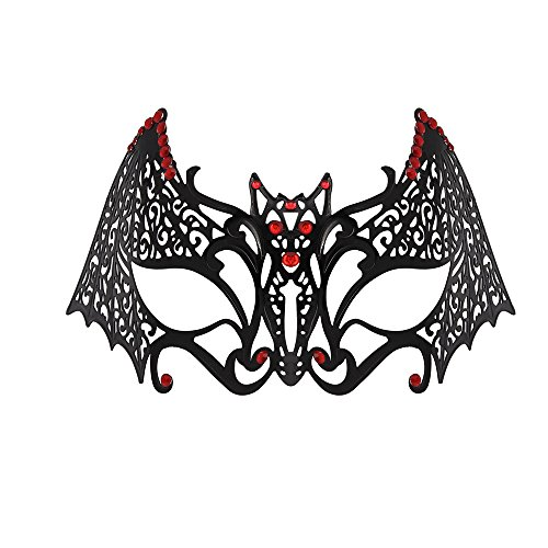 WINK KANGAROO Women's Laser Cut Metal Venetian Pretty Masquerade Masks (Bat Style, (Red And Black Masquerade Mask)