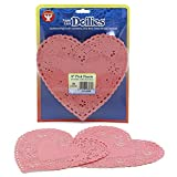 Hygloss Products Heart Paper Doilies – 6 Inch Pink Lace Doily for Decorations, Crafts, Parties, 36 Pack