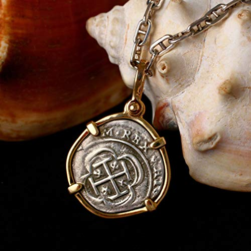Genuine 100% Atocha Silver Shipwreck Historical Spanish Replica Coin Pendant - Available in 14kt Gold or 925 Sterling Silver Frame - Includes Certificate of Authenticity ()